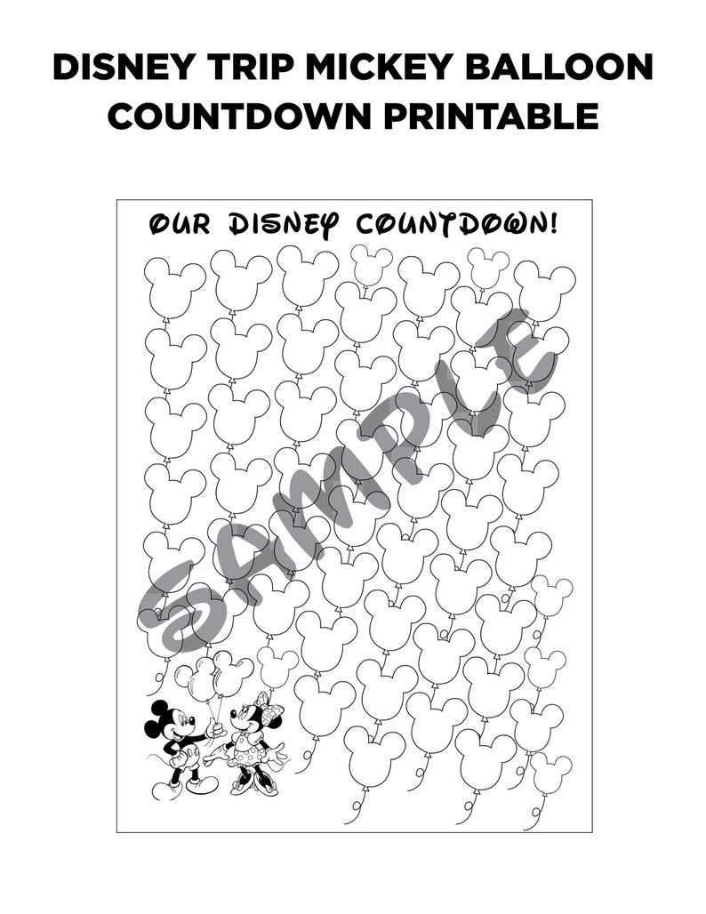 photograph relating to Countdown Printable named Disney Family vacation Countdown Printable - Mickey Balloon Coloring Web site Printable - Disney Countdown