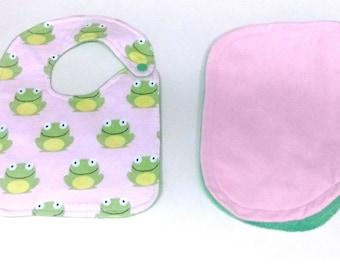 Baby Girls Pink and green Frogs Bib/Burp Cloth Set