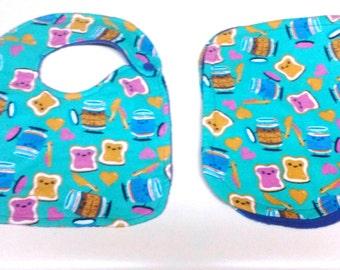Baby Girls Happy PB&J Bib/Burp Cloth Set