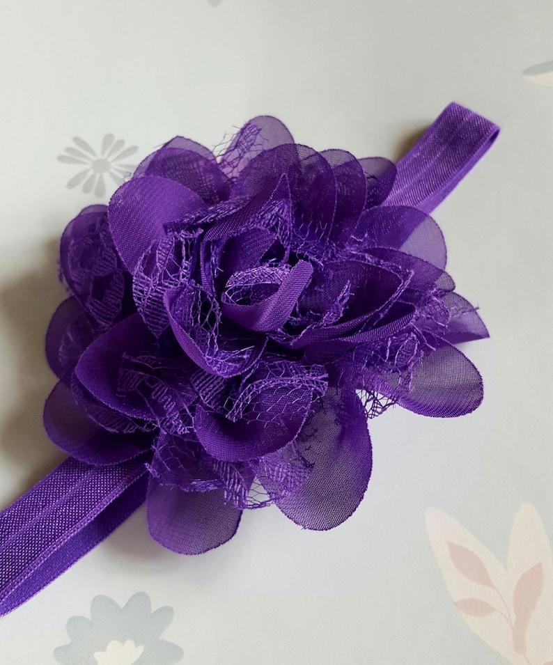 Wedding Party Everyday Hair Accessory. Purple Mauve Elastic Chiffon /& Lace Flower Baby Toddler Headband 14