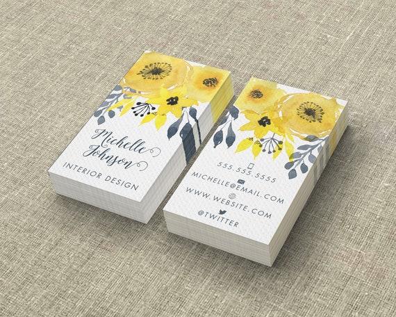 Visitenkarte Vorlage Aquarell Blumen Gelb Digital Druck Personifizierte Layout