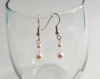 Pink Swarovski Pearl Drop Earrings