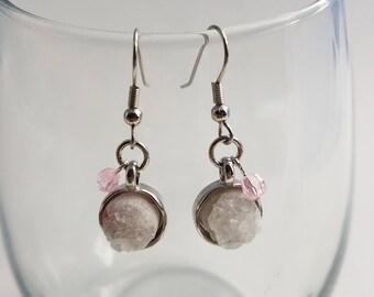 White & Pink Druzy Earrings