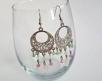 Pink & Green Boho Earrings
