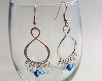 Blue Swarovski Crystal Dangle Earrings