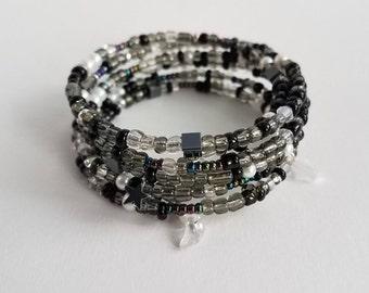 Monochromatic Moon & Stars Memory Wire Bracelet