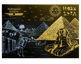 On Sale - DIY Scratch Night View -- Egypt (Free Pan with any 2 orders)  DIY Scratch Art Paper for Gift