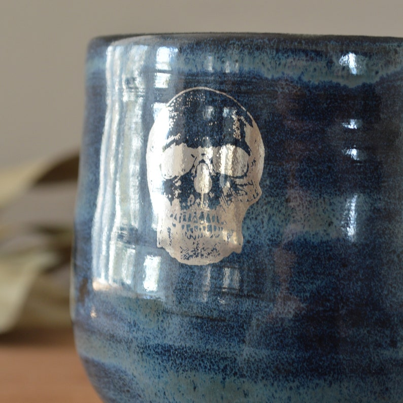 Witchy Cauldron Pottery Planter Blue with Silver Skull Design