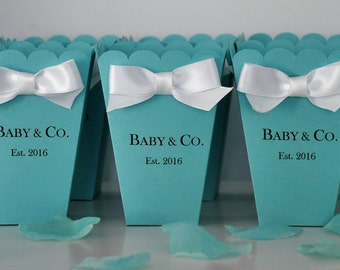 personalized baby co favor box robin egg blue for baby showers bridal showers sweet 16 birthdays for popcorn or candy set of 10