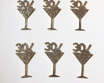Party Decor Birthday Martini Glass Confetti Martini Die Cuts Martini Confetti Olive Confetti