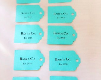 8eb16141fa Personalized Blue Favor Tags Baby & Co. Bride Co. Sweet 16 Birthday Parties  Robins Egg Blue Set of 10