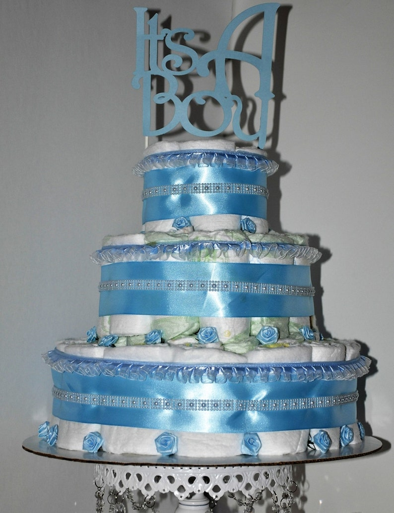 It S A Boy Baby Diaper Cake Blue Ribbon Pearls Flowers Etsy