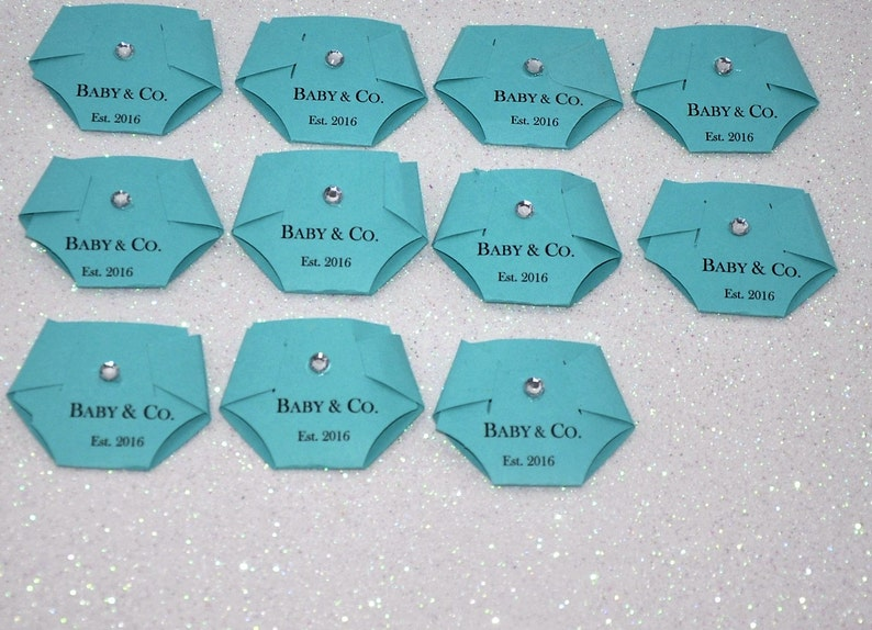 Pink Dirty Diaper Game for Baby Showers Baby /& Co Turquoise Robin Egg Blue Aqua White Set of 12