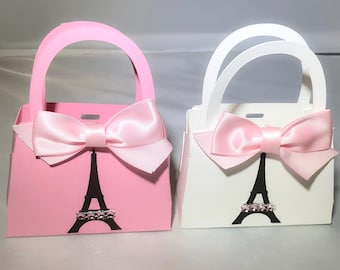 Paris Party Mini Purse Favors for Birthdays, Baby Showers, Bridal Showers, Sweet 16 Parties Pink White Eiffel Tower Satin Bow Set of 10