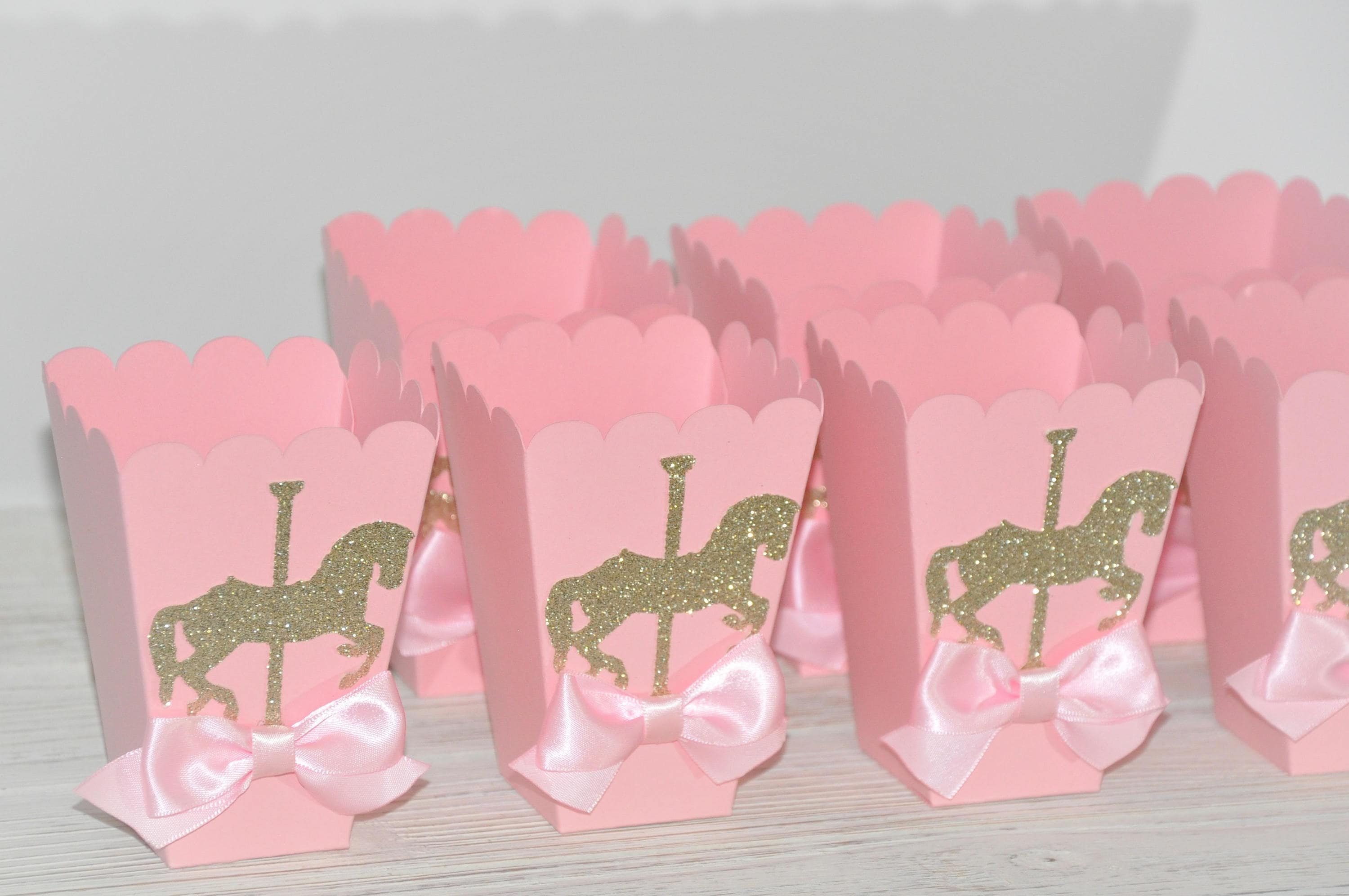 Carousel Horse Theme Pink & Gold Favor Box for Popcorn Candy | Etsy