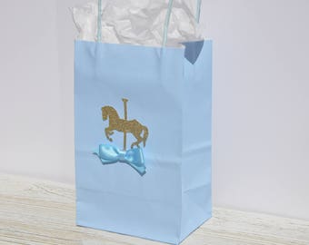 Carousel Horse Theme Favor Bag for Treats, Goodies Baby Blue, Boy Baby Showers, Birthdays, Christening, Baptism Set of 12