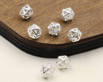 3 pcs Sterling silver diamond shape bead/charm,rhombus hollow bead/charm,space bead