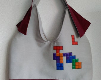 "Grey bag & canvas Garnet made and hand-painted ""tetris"""