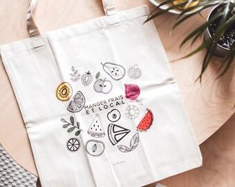 Tote bag fruits and vegetables, organic tote bag market bag for shopping