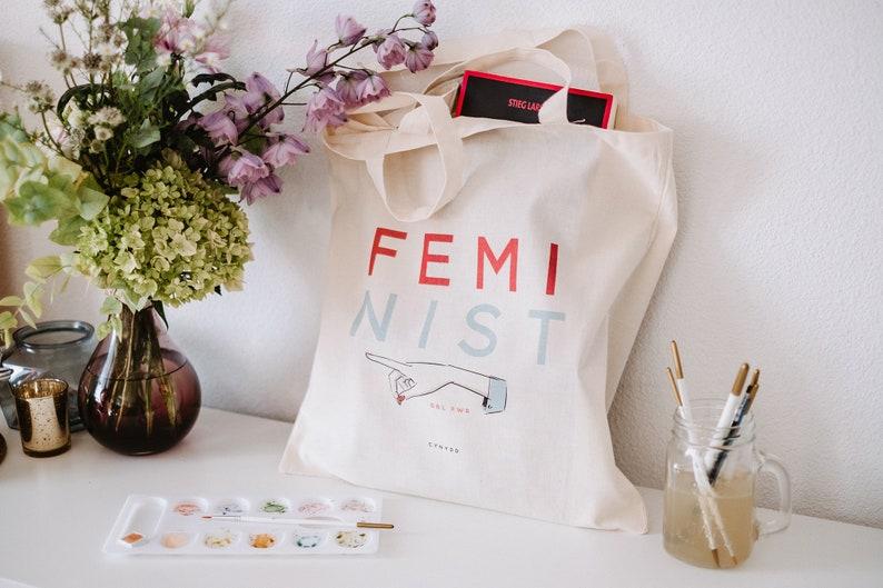 Tote bag women organic cotton feminist woman girl power image 0