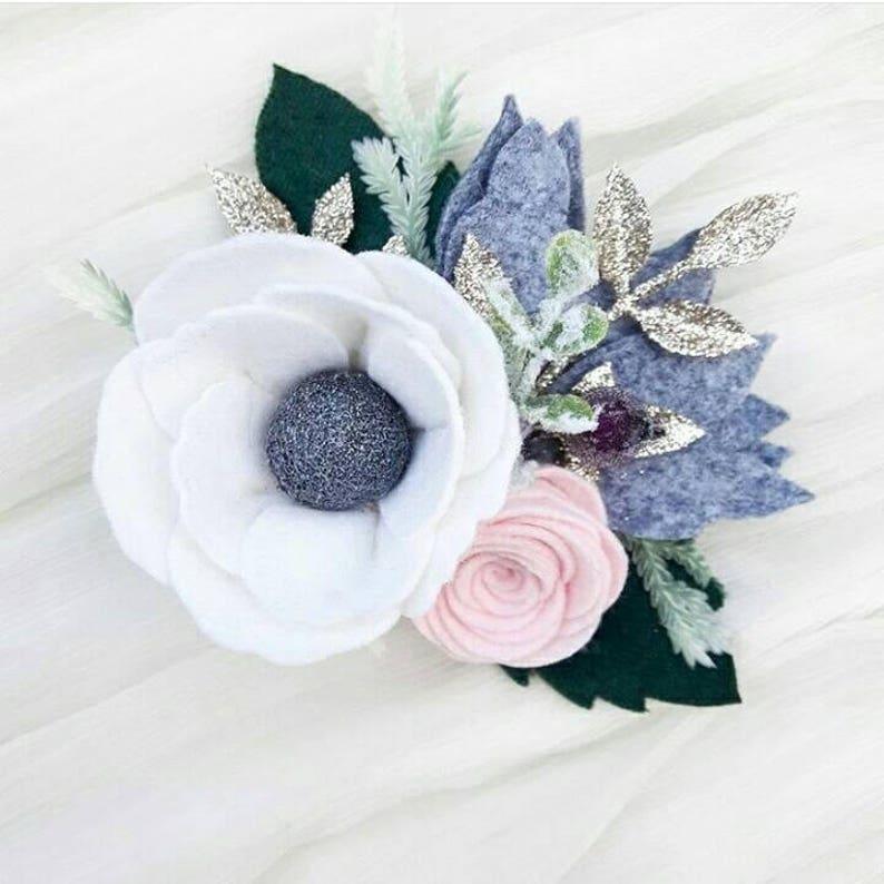 Frosty morning  wintery felt flower headband  christmas felt flower crown  holiday headband  anemone flower with velvet leaves