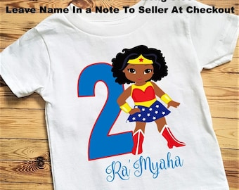 Wonder Woman Birthday Tee Shirt Or Bodysuit African American Size 6 24 MonthTee 2T And Up Long Sleeve Available To 5T