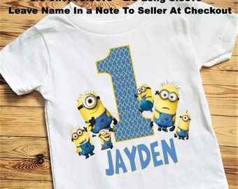 Boys Minion Birthday Tee Shirt Or Bodysuit Size 6 24 MonthTee 2T And Up