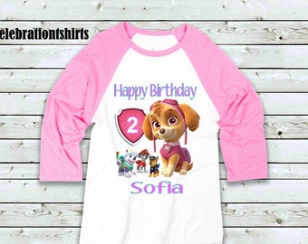 Paw Patrol Birthday Girl Pink Raglan Size 18Mth 5T Personalized For Free Chart In Pictures On Listing Fast Shipping