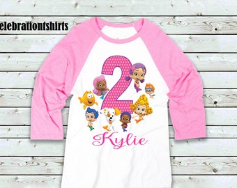 Bubble Guppy Girl Pink Raglan  Size 18Mth-5T  Personalized For Free  Size  Chart In Pictures On Listing  Fast Shipping b0fc20ab77563