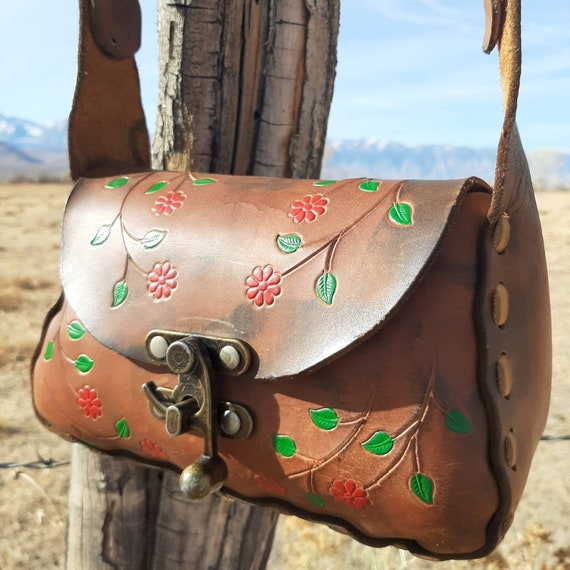 TOOLED LEATHER PURSE, Vintage Hand Tooled Hippie B