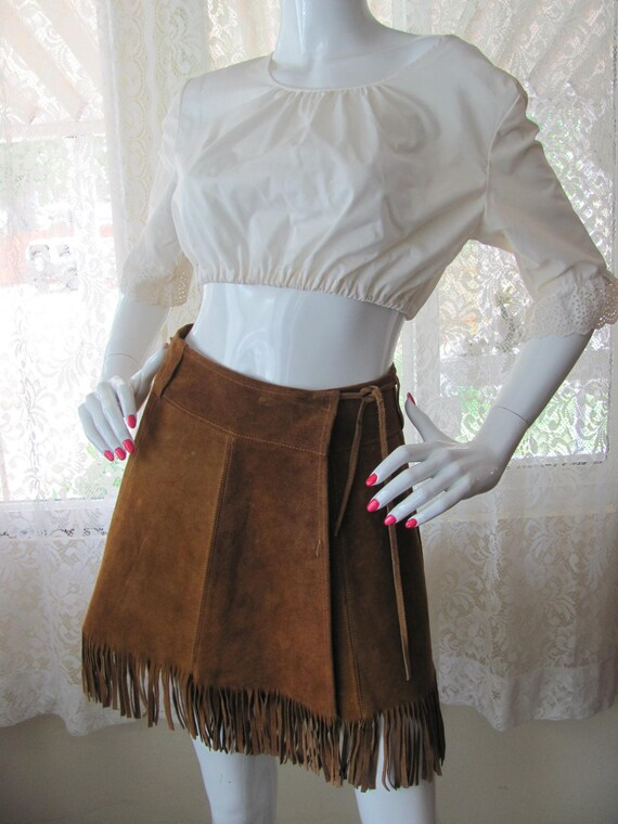 SUEDE FRINGED MINI Skirt, Western Mini Skirt, Sued