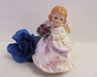 FEBRUARY BIRTHDAY ANGEL, Price Imports February Angel Music Box, February Birthday Fairy, Musical Figurine Plays Happy Birthday, Music Box