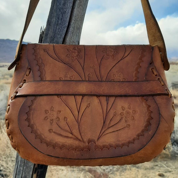 TOOLED HIPPIE PURSE, Hand Tooled Leather Flower Ch