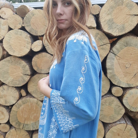 VINTAGE HIPPIE KAFTAN, Embroidered Hippie Dress, E