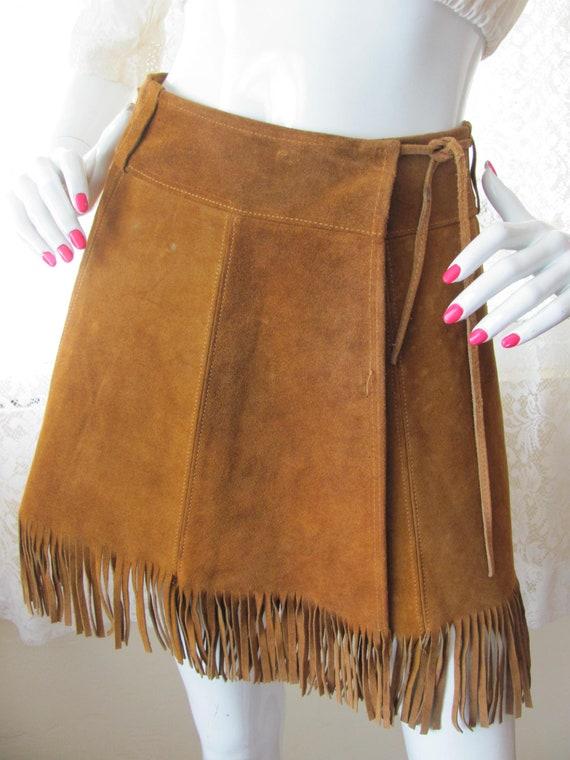 SUEDE FRINGED MINI Skirt, Western Mini Skirt, Frin