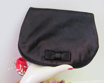 I. MAGNNIN EVENING BAG, Small Black Fold Over Purse, Vintage Black Clutch Purse, 1940'S I. Magnin and Co. Evening Bag, Vintage Make Up Case,