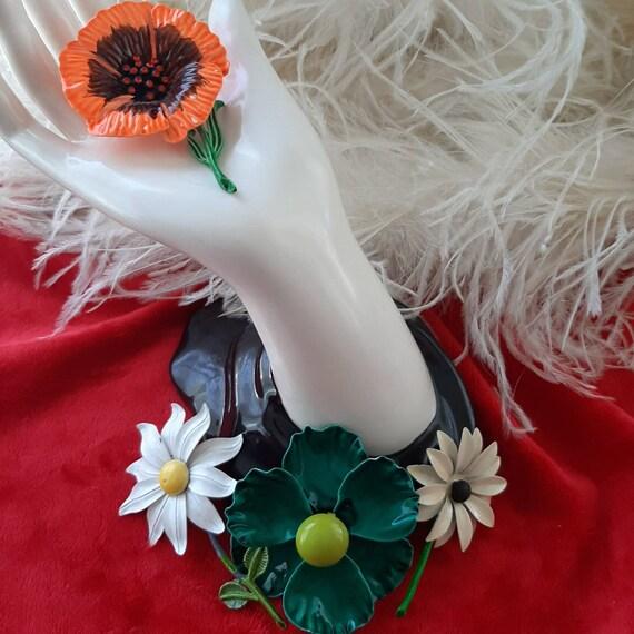 ENAMEL FLOWER PINS, 60's / 70's Flower Pins, Hippi