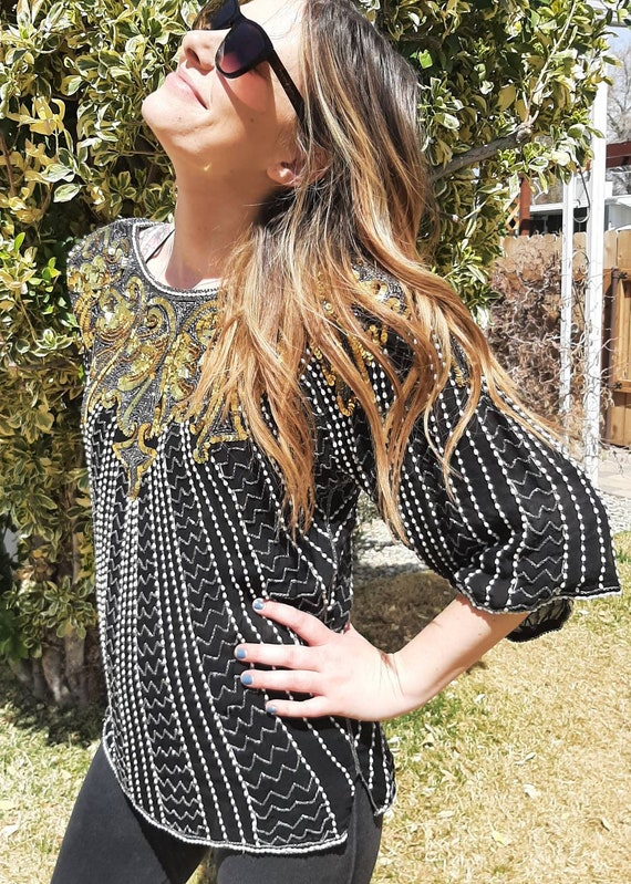 1980's SEQUINED BEADED BLOUSE, Disco Blouse, Beade