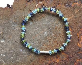 Aquamarine Peridot Sodaltih bracelet with 925 silver elements