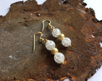 Mountain Crystal earrings with gold-plated sterling silver