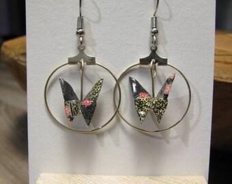 Origami butterflies way hoop washi paper earrings