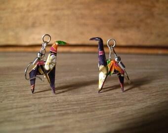 Origami giraffes washi paper earrings