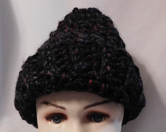 Crocheted Wool Hat - Teen/Adult - Dark Green and Black   CLEARANCE ITEM!!