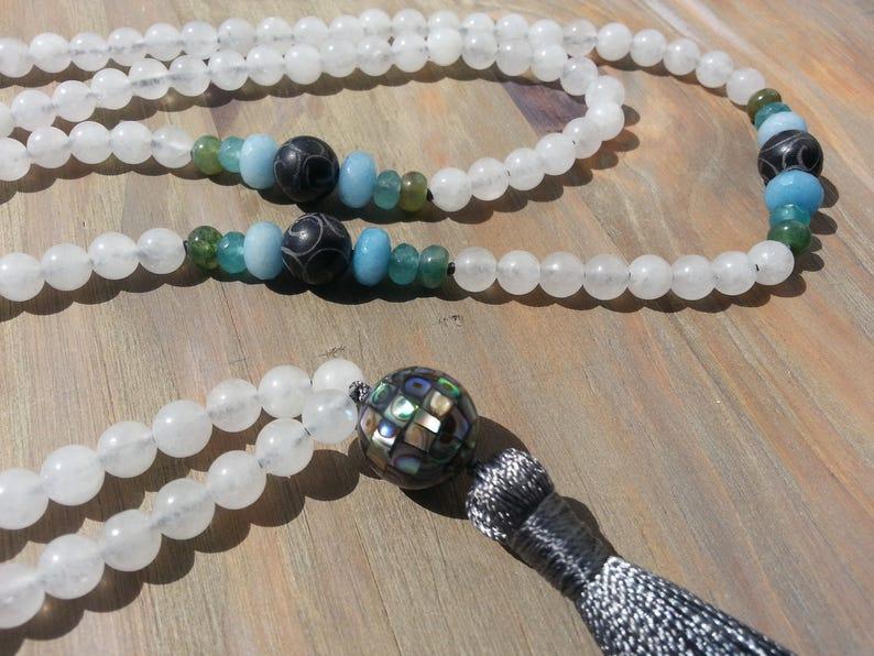 Mala beads long white gemstone necklace tassel handmade necklace boho gift for women meditation yoga jewelry