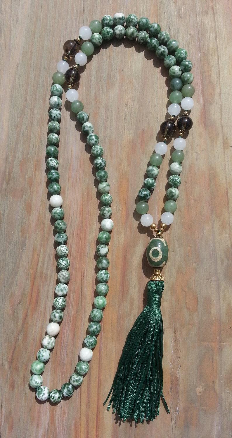 Green tassel long gemstone beaded Mala necklace Agate dzi bead handmade necklace Boho chic gift for her