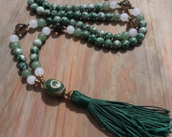 Mala bead necklace long green necklace gift for her tassel handmade necklace dzi bead Quartz necklace Boho necklace Jasper long necklace