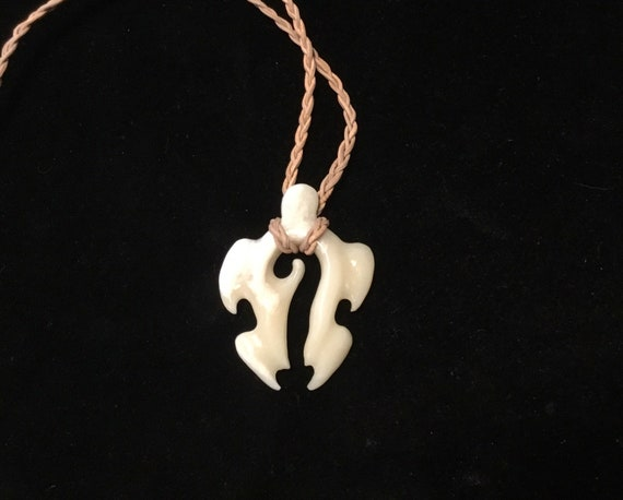 Hand Carved Bone Wave Turtle Unique Pendant Braided Leather Etsy