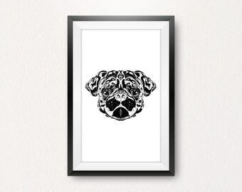 Custom illustrative digital pug dog print.
