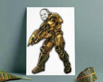 Halo gift - personalised halo gift - cartoon drawing - personalised avatar -  gamer gift - gamer dude - halo buck - xbox gamer - ps4 gamer