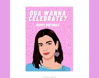 Dua Lipa Birthday Card Art Print Greetings Card Future Nostalgia Dua Lipa fanart gift merch IDGAF Hotter than hell new rules